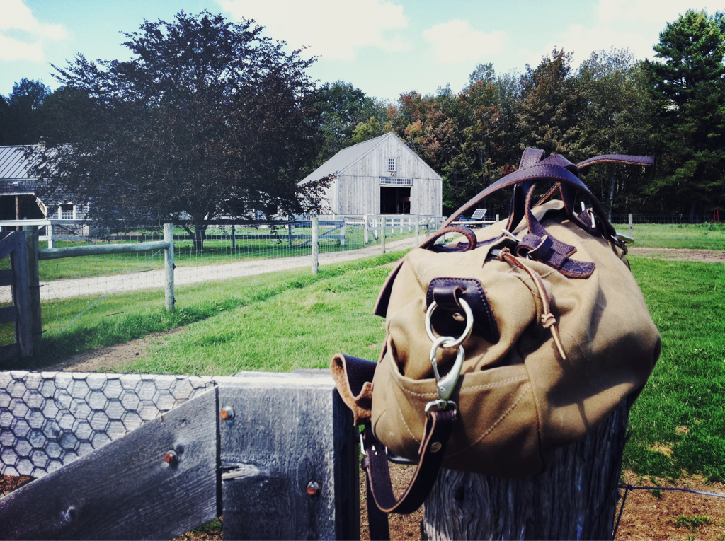 Making it in America    Visiting the Rambler's Way farm today in Maine. 'Planning to make friends with the sheep that provide our incredible Rambler's Way underwear. Stay tuned…     PTC Brimfield Duffle in khaki with chocolate brown moccasin leather