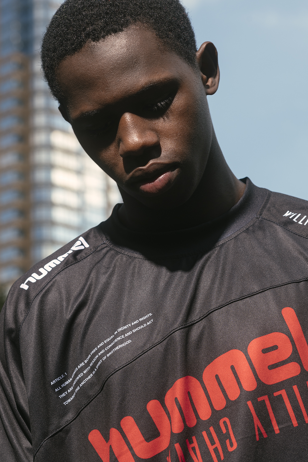 WILLY CHAVARRIA has partnered with Danish fútball brand Hummel to create a collection which will sponsor and support the players of the ROOKLYN SOCCER LEAGUE in New York City. We proudly support and endorse RIFA and the refugee, asylee and immigrant youth who play.  WILLY CHAVARRIA strongly supports immigrant rights. We act to encourage the sharing of ideas, talent, energy from all global territories.    HUMMEL X WILLY CHAVARRIA  is a tribute to both hummel's proud football tradition and the ability of sport to create a better life for future generations  To Learn more about RIFA click here:   https://www.rooklynfootball.org/