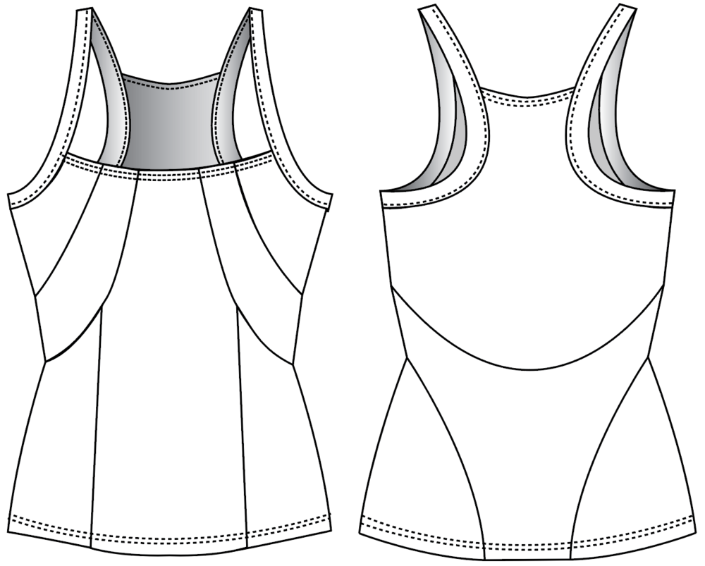 "Fit & Intent: Form fitting tank with flattering contouring panels to create a corset- like feminine silhouette. Low neckline for a more coquette cut and back mesh insert for breathability. Seams are sewn using active seam for a more seamless feel and finished with self-binding for armhole and back neck. Available Sizes: XS, S, M, L, XL Fabric Content: This style is available in our digitally printable CremeBrulee 84% Poly, 16% Spandex and recycled 80% Recycled Poly, 20% Spandex mesh. Finishing Options: Active seam side seam coverstitch hems. 1/2"" compression trim on neck, arm and back straps. Eco-impact: Dyed without water & chemicals, no over-production, focus on minimal waste. Fabric knit in Canada, sourced in the USA. Made to order in the USA."