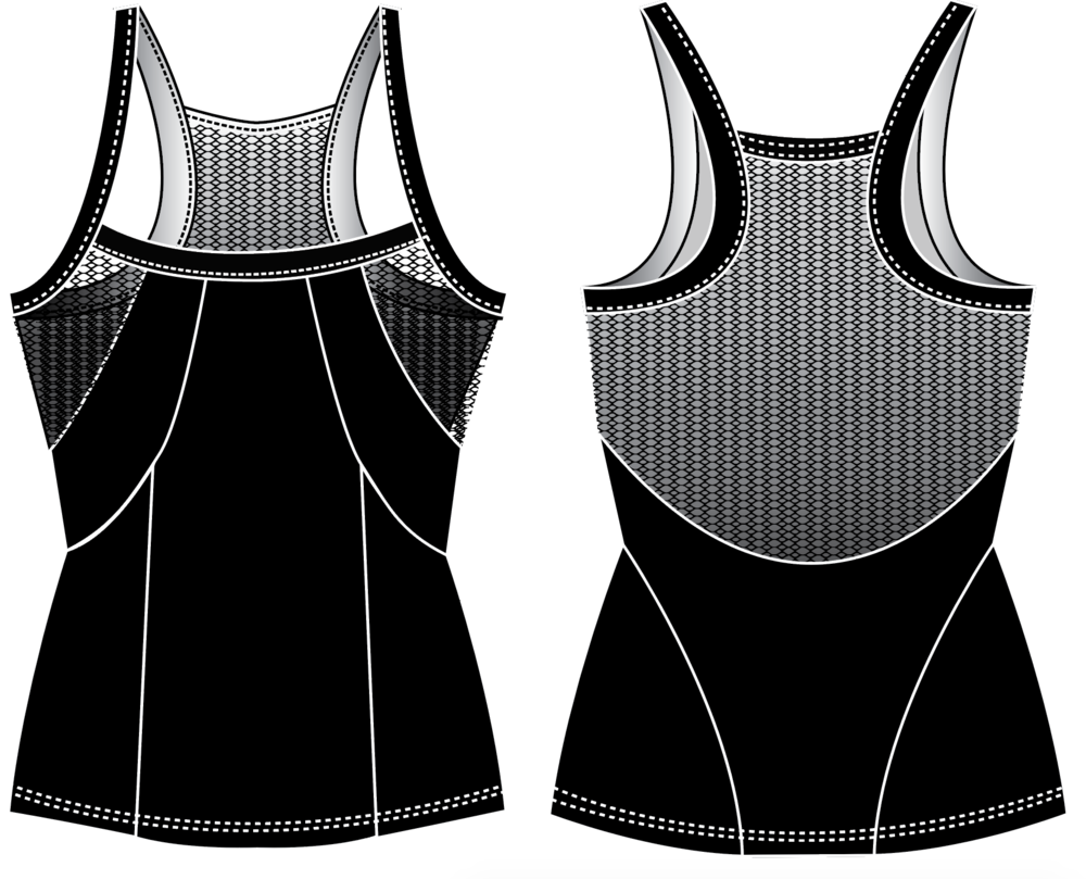 "Fit & Intent:  Form fitting tank with flattering contouring panels to create a corset-like feminine silhouette. Form fitting tank with flattering contouring panels to create a corset- like feminine silhouette. Low neckline for a more coquette cut and back mesh insert for breathability. Seams are sewn using active seam for a more seamless feel and finished with self-binding for armhole and back neck.   Available Sizes:  XS, S, M, L, XL   Fabric Content:  This style is available in our solid Black Compression 72% Micro-Nylon, 28% Spandex with antimicrobial and moisture wicking inserts of Onyx Power Mesh 72% Nylon, 28% Spandex.   Finishing Options:  Active seam side seam coverstitch hems. 1/2"" compression trim on neck, arm and back straps.   Logo Placement:  Custom logo is available for localized exterior placement in Vinyl and printed interior back side panels.   Eco-impact:  No over-production, focus on minimal waste. Fabric sourced in the USA and knit in Canada. Made to order in the USA."