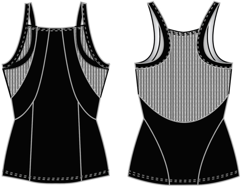 "Fit & Intent:  Form fitting tank with flattering contouring panels to create a corset-like feminine silhouette. High halter neckline for more coverage. Seams are sewn using active seam for a more seamless feel and finished with self-binding for armhole and back neck.   Available Sizes:  XS, S, M, L, XL   Fabric Content:  This style is available in our solid Black Compression 72% Micro-Nylon, 28% Spandex with antimicrobial and moisture wicking inserts of Onyx Power Mesh 72% Nylon, 28% Spandex.   Finishing Options:  Active seam side seam coverstitch hems. 1/2"" compression trim on neck, arm and back straps.   Logo Placement:  Custom logo is available for localized exterior placement in Vinyl and printed interior back side panels.   Eco-impact:  No over-production, focus on minimal waste. Fabric sourced in the USA and knit in Canada. Made to order in the USA."