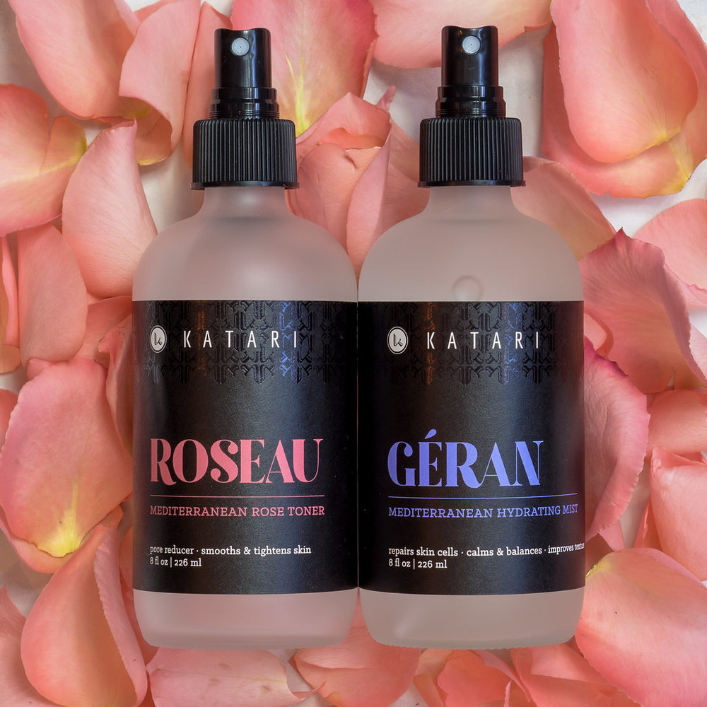 Katari Roseau and Geran - first distillation flower waters exquisitely crafted by women artisans.