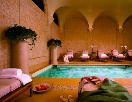Luxury Spa overlooking Hole 1 of the Legendary Links Golf Course at the Pebble Beach. That is a dream come true.