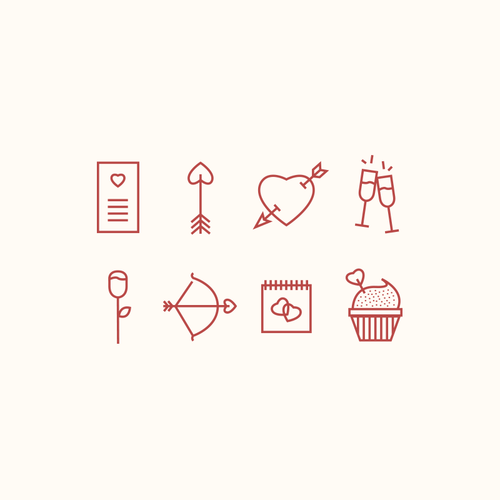 Valentines Day Icon Set Creative Rooster