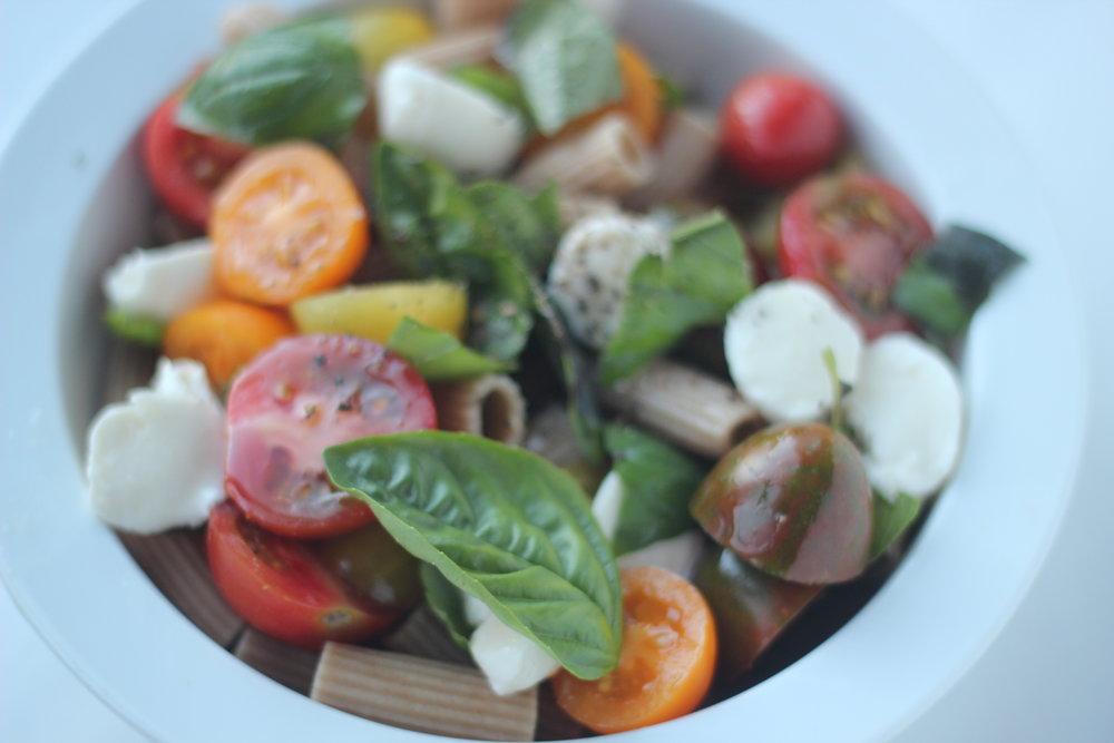 Tomato and basil pasta dish