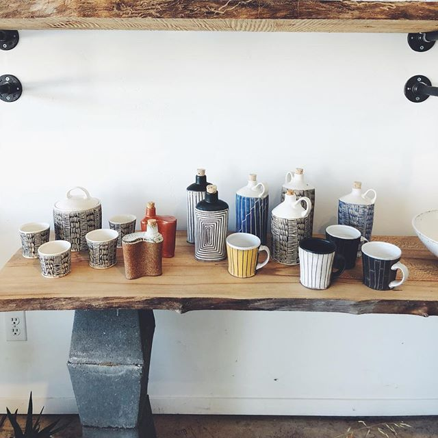 New goods by @flyinguke Open today for a bit, come on by. . . . . #ceramics #pottery #art #sgrafitto #ojai