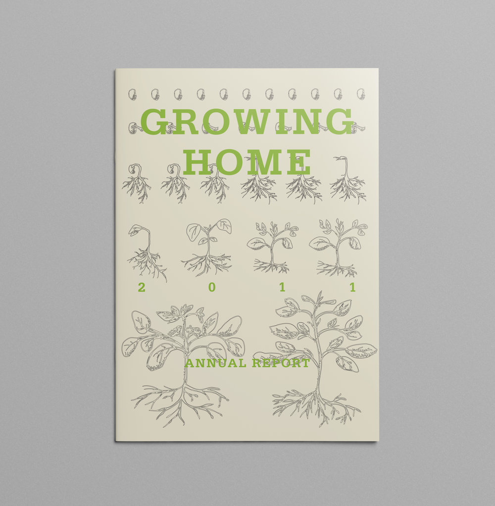 Growing Home Annual Report - Illustrations, layout, and information design for Growing Home, a non-profit organization that conducts job training through skills learned while farming.