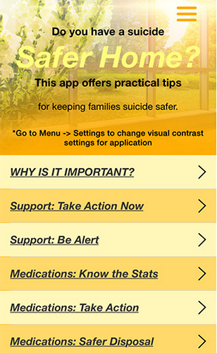 Suicide Safer Homes smartphone app