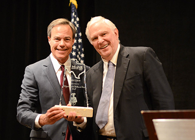The Hon. Joe Straus, Speaker of the Texas House of Representatives, left, and Awardee Tom Luce