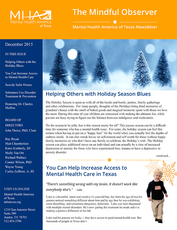 MHA Texas newsletter, The Mindful Observer December 2015