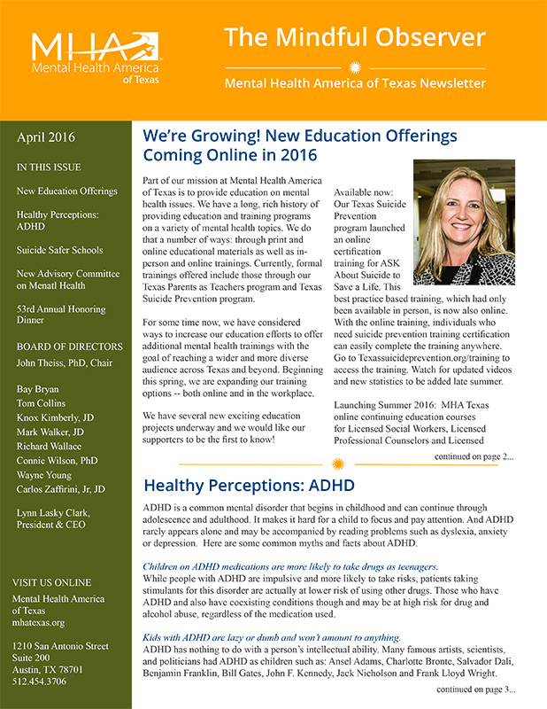 MHA Texas newsletter, The Mindful Observer April 2016