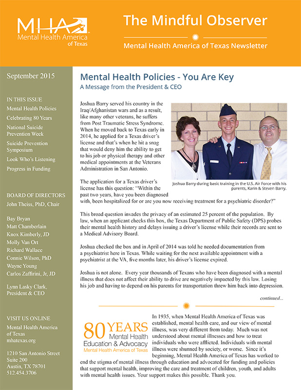 MHA Texas newsletter, The Mindful Observer September 2015