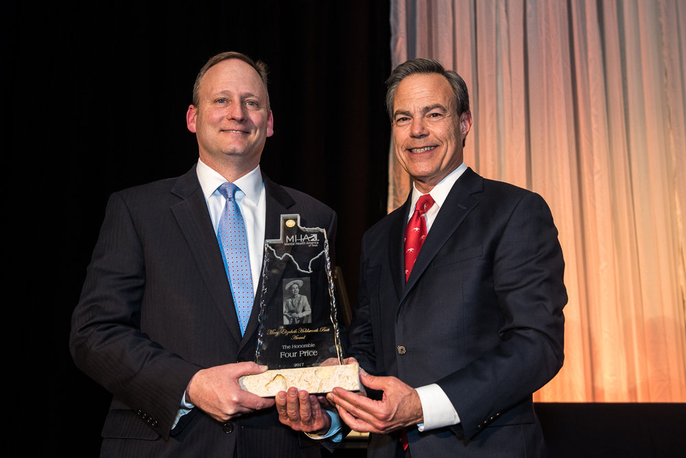Speaker Joe Straus (right) presented the Mary Elizabeth Holdsworth Butt Award for Mental Health to The Honorable Four Price.