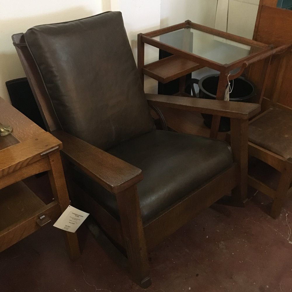 1910 Stickley Brothers Rocker with fresh leather upholstry