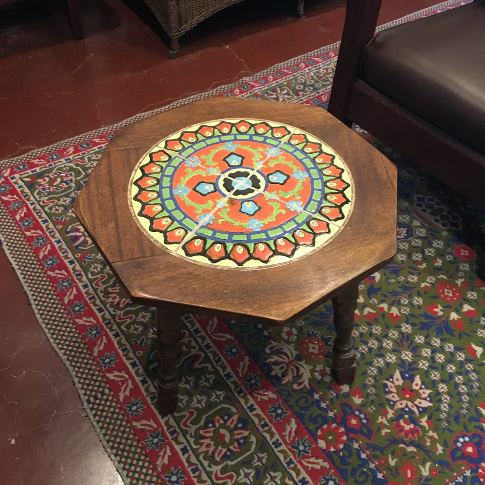 1930 California tile table with Mahogany frame.