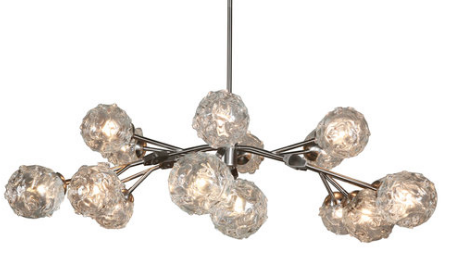 The Aurora Chandelier, with Satin Nickel Finish