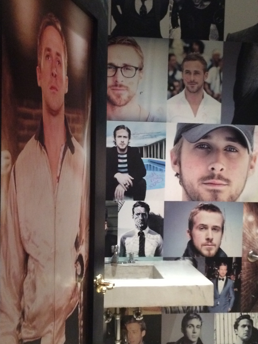 Each stall in the bathrooms is decorated in a particular theme. I chose the Ryan Gosling theme because you would be a fool if you didn't want him watching you pee at all angles.