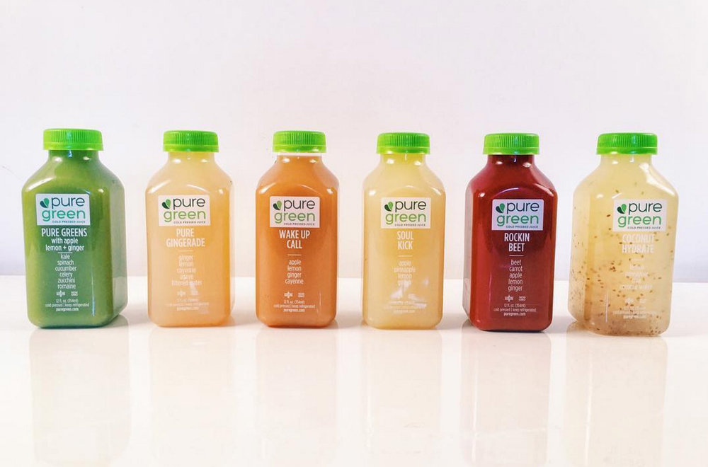 Sample of a 1 day juice cleanse from Pure Green