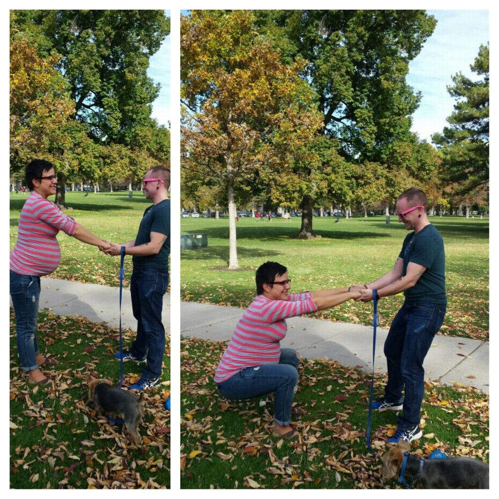Trying anything and everything to get labor going, including lunges and squats on our daily walk in Liberty Park.