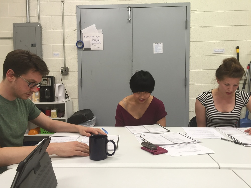 (L-R) Cast members Cory Hardin, Jin You, and Emily Dyer in rehearsal