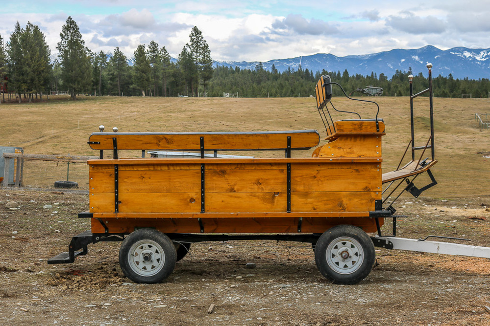 Custom made wagon with pioneer, one ton gear with mechanical brakes, draft size tongue, fold down rear steps, will haul up to 11 people
