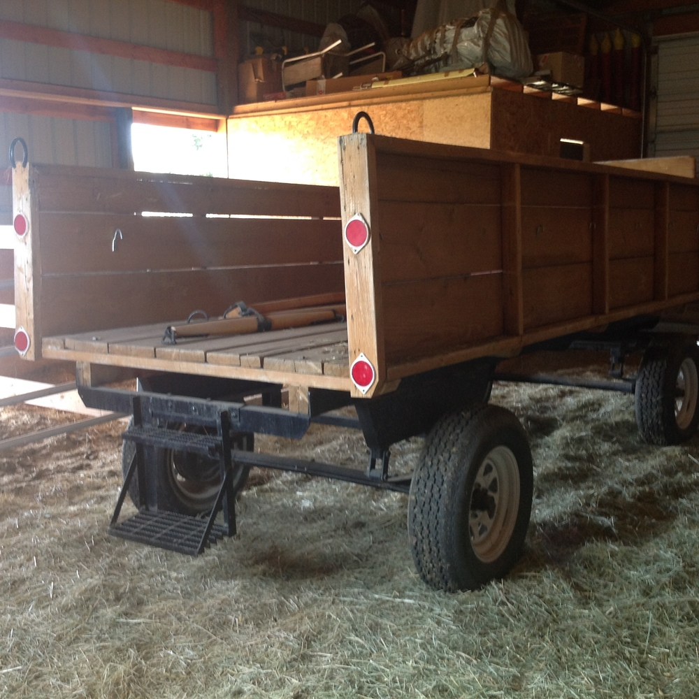 Homemade wagon with hydraulic brakes, new double tree, single trees and neck yoke