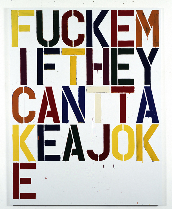 museumuesum :     Christopher Wool      Untitled (P186) , 1993   enamel on aluminum, 36 x 52 inches      FUCK EM'