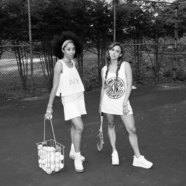 "The day @itsalisonvalentine taught me how to play tennis 🎾 soundtrack  ""Our Little Secret"" via @voguemagazine today!! Can't wait for the video #lovethefree"