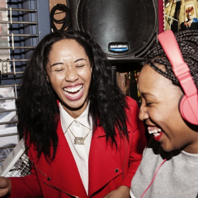 This picture basically sums up how much fun I had teaching  @meccajw how to Dj for @openingceremony blog!