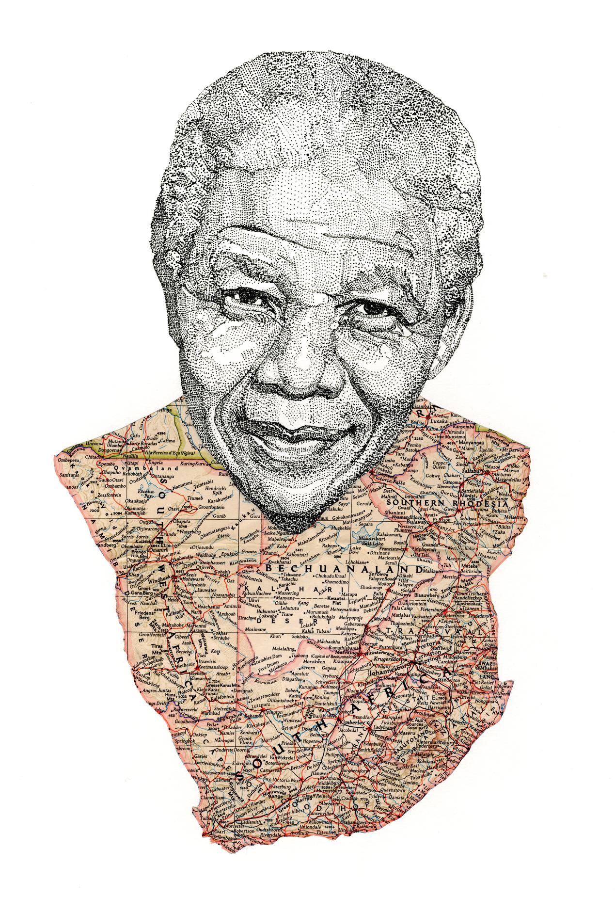 uzowuru :      uzowuru :      Nelson Mandela    Pen portrait with map of South Africa    Facebook  Blog  Website      :(