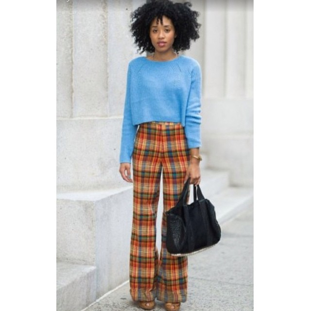 "Ooooo kill em' with my ""Essential Fashion Tip"" on @refinery29!! Also a close up on my amazing nails by my boo @jesthemess #plaid #streetstyle #nyc #natural #afro"