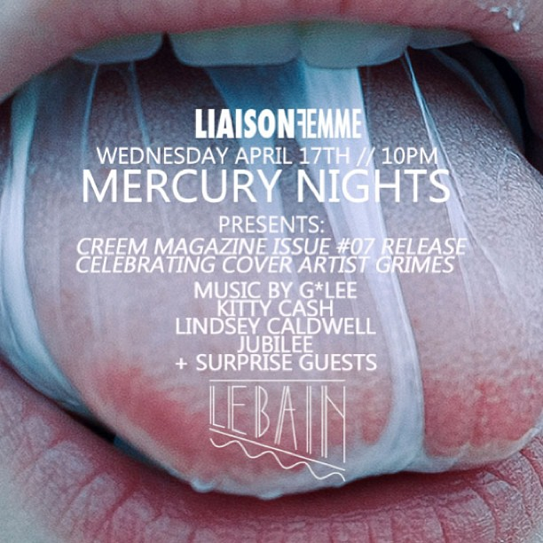 @CreemMag Issue #07 Release Party  tomorrow night beginning at 10pm @LeBainNYC @StandardNY feat. @iamG_LEE @jubileedj @djlindsey!!!