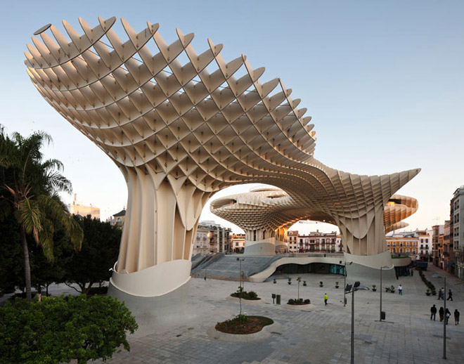Inspiration:  Take Me there     The recently completed Metropol Parasol in Seville has taken the crown as the world's largest wooden structure. Designed by  J. Mayer H. Architects .                  via  HUH. Magazine