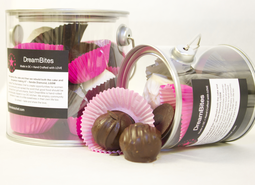 chocolate truffle cakeballs in bucket packaging make great corporate gifts