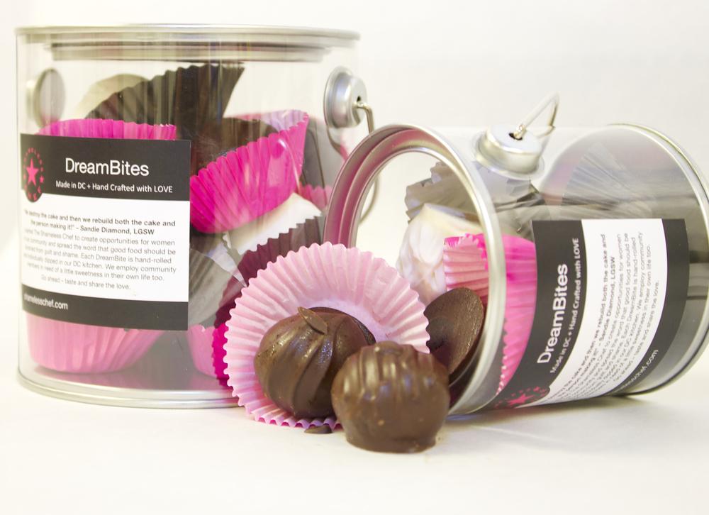 chocolate truffle cakeballs in bucket packaging make great corporate gifts