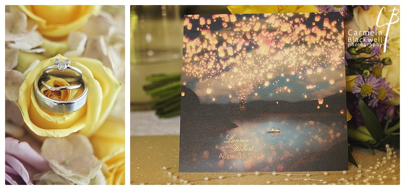 Love the Mickey Mouse engagement ring and the invitations with the floating lanterns. All the little details to create the Tangled theme were gorgeous!
