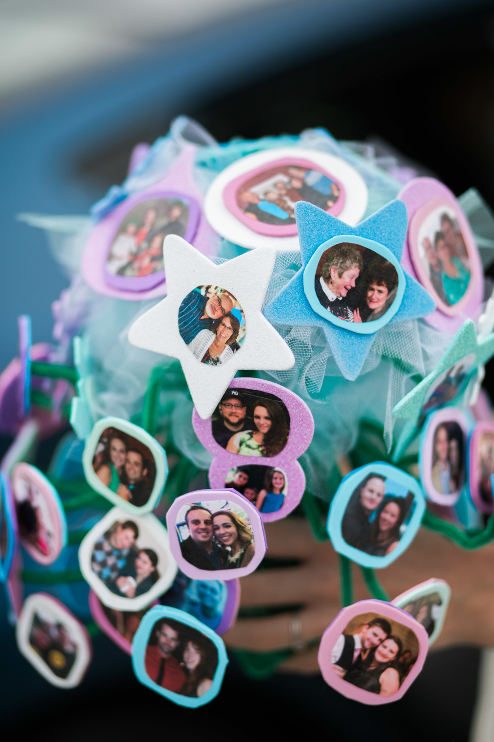 Love this handmade bouquet incorporating all their friends and family from back home in New York!