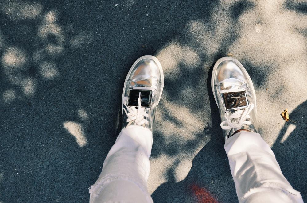 Acne Studios Adrian Metal Silver sneakers.