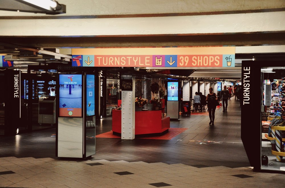Entrance to TurnStyle in Columbus Circle.