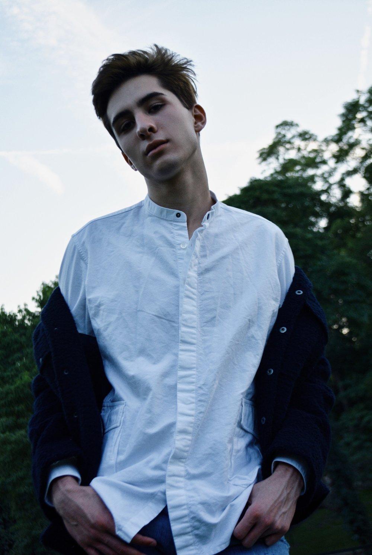 Details on modern button down shirt.
