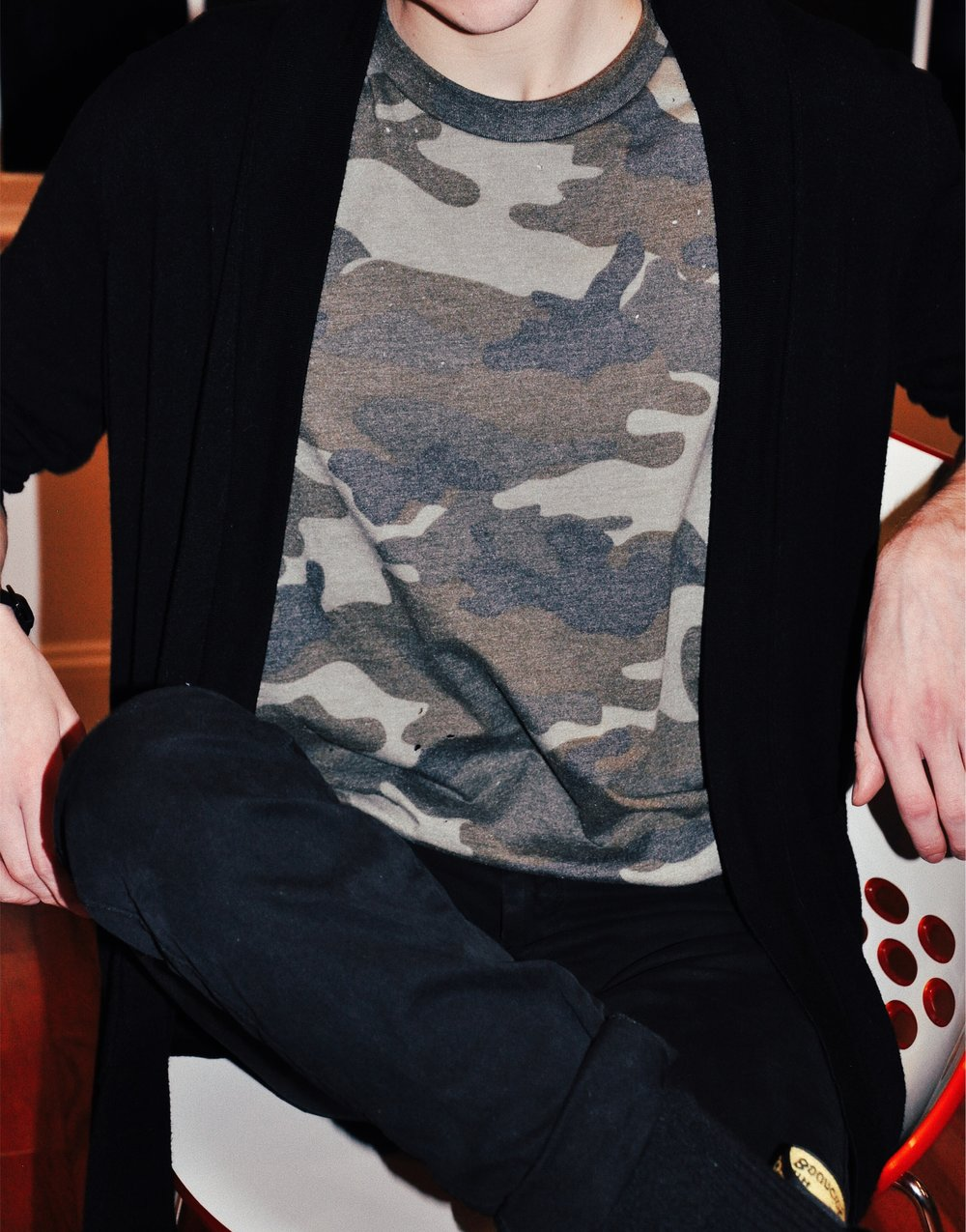 Close up of this oversized camo tee from Pacsun.