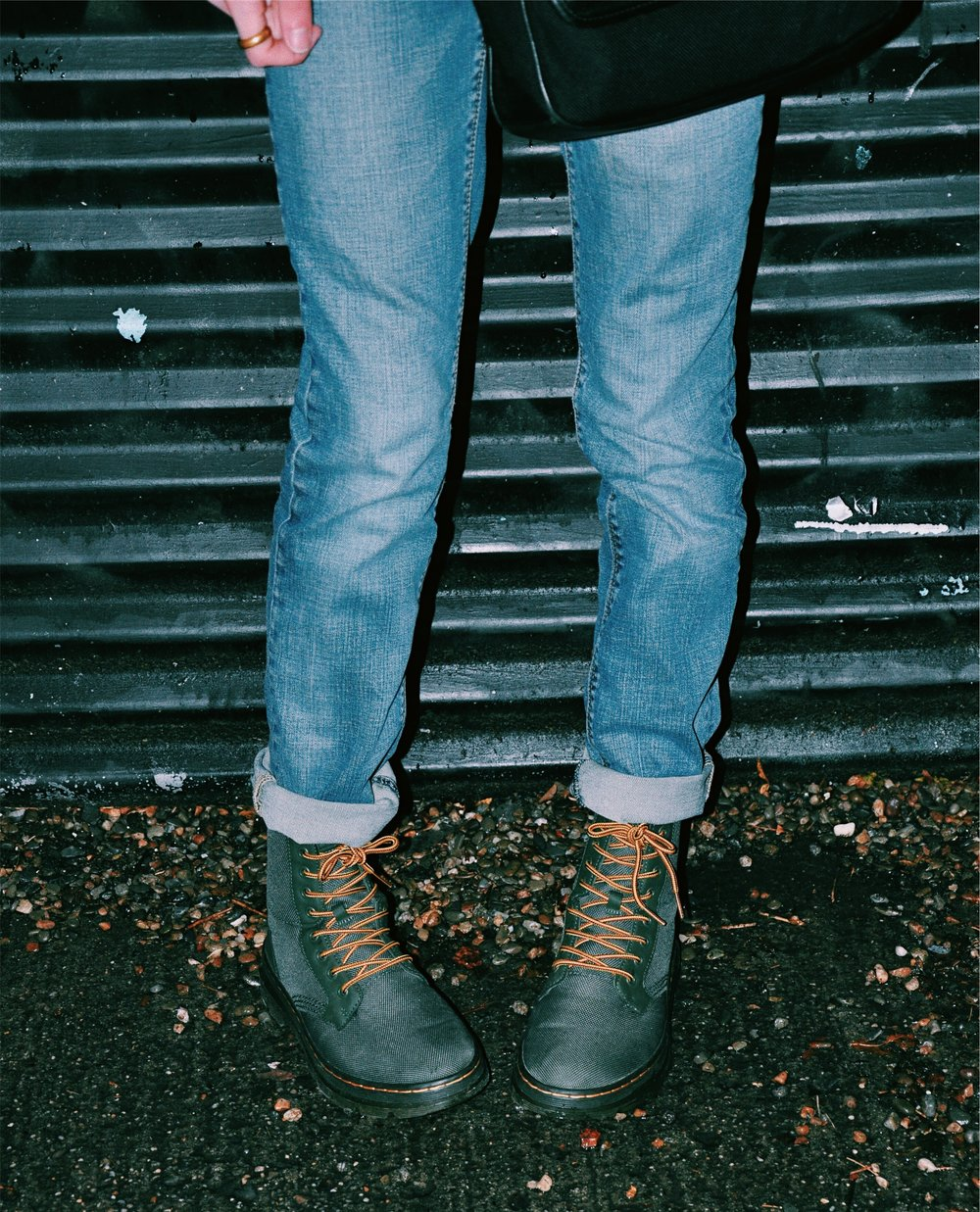 Green Dr. Martens with 7 For All Mankind Denim