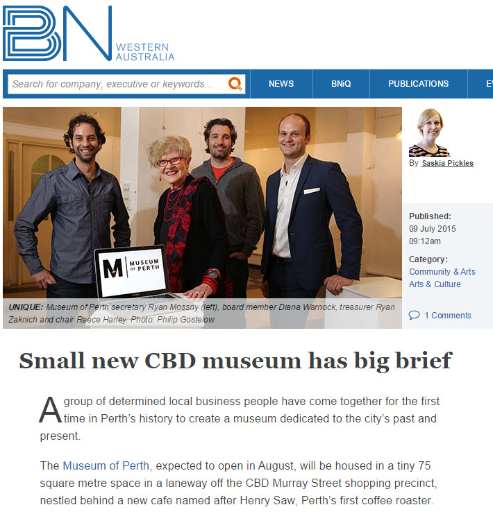 """  Small new CBD museum has big brief"" - Business News, 9 July 2015"