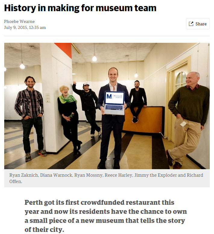 """History in making for museum team"" - The West Australian, 9 July 2015"