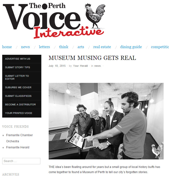 """Museum musing gets real"" - Perth Voice, 10 July 2015"