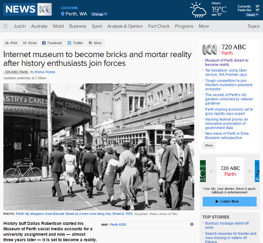 """  Internet museum to become bricks and mortar reality after history enthusiasts join forces"" - ABC News Online, 16th July 2015"