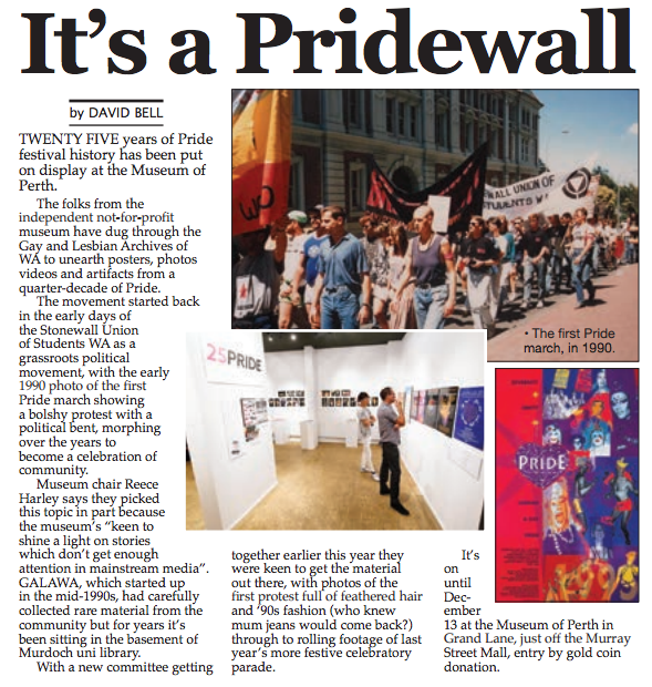 """It's a Pridewall"" - Perth Voice, 4th December 2015"