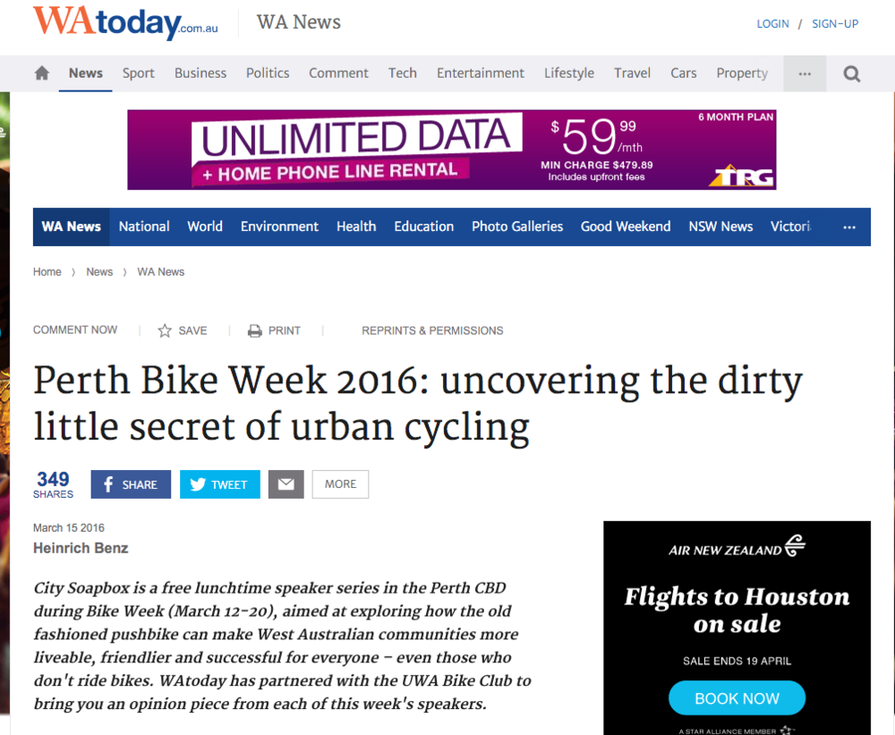 """Perth Bike Week 2016: uncovering the dirty little secret of urban cycling"" - WA Today, 15th March 2016"