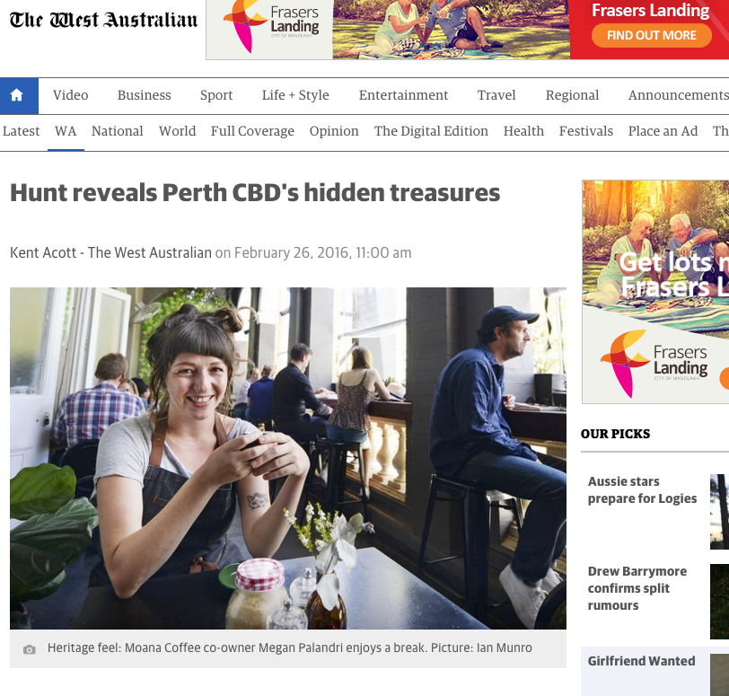 """Hunt reveals Perth CBD's hidden treasures"" - The West Australian, 26th February 2016"