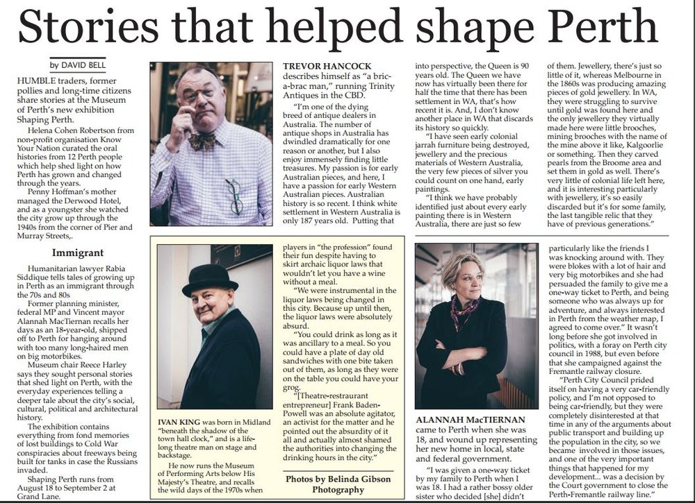 """Stories that helped shape Perth"" - Perth Voice, 18th Aug 2016"